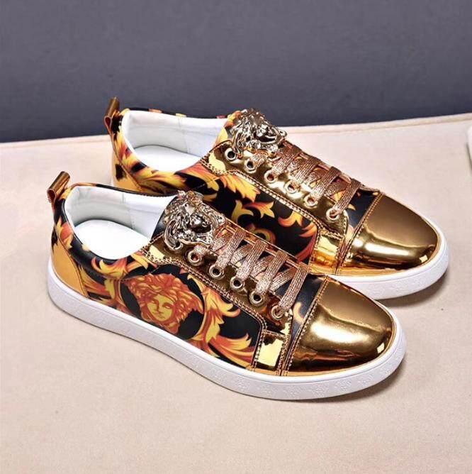 Versace2018 Baru 3D Digital Printing Sepatu Pria Medusa Jahitan Kulit Sepatu Pria/Kepribadian Kepala Metal Lace-UP Sepatu