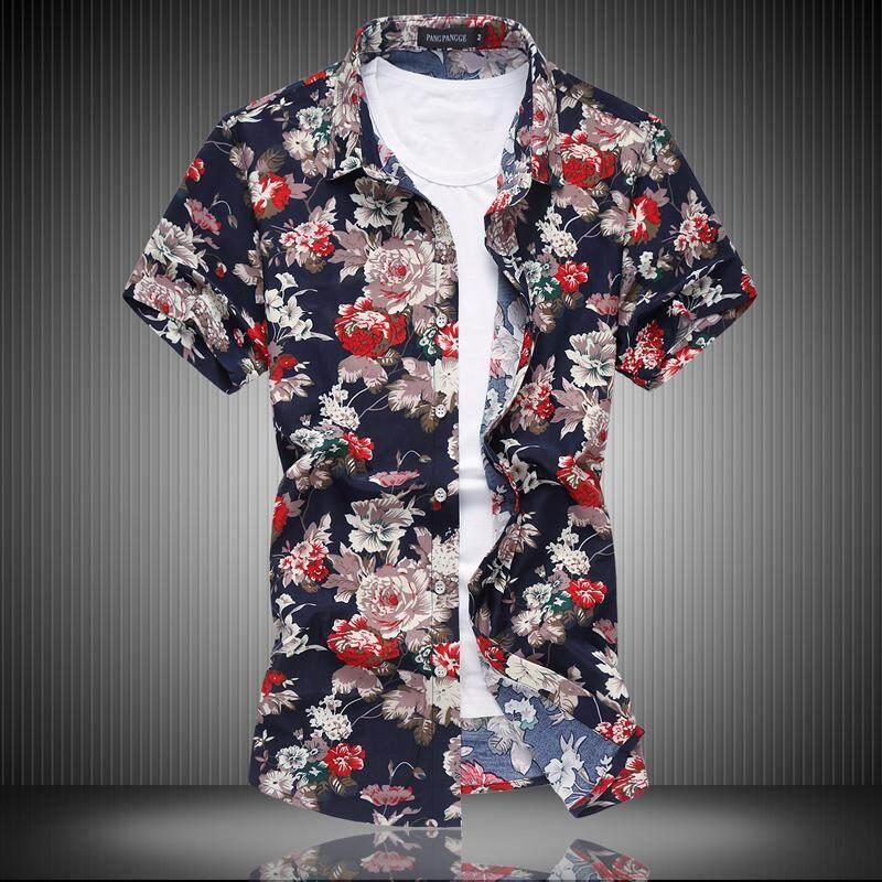 Musim panas Pria Kemeja motif bunga Gaya Korea pakaian pria kemeja lengan pendek Orang Gemuk ukuran