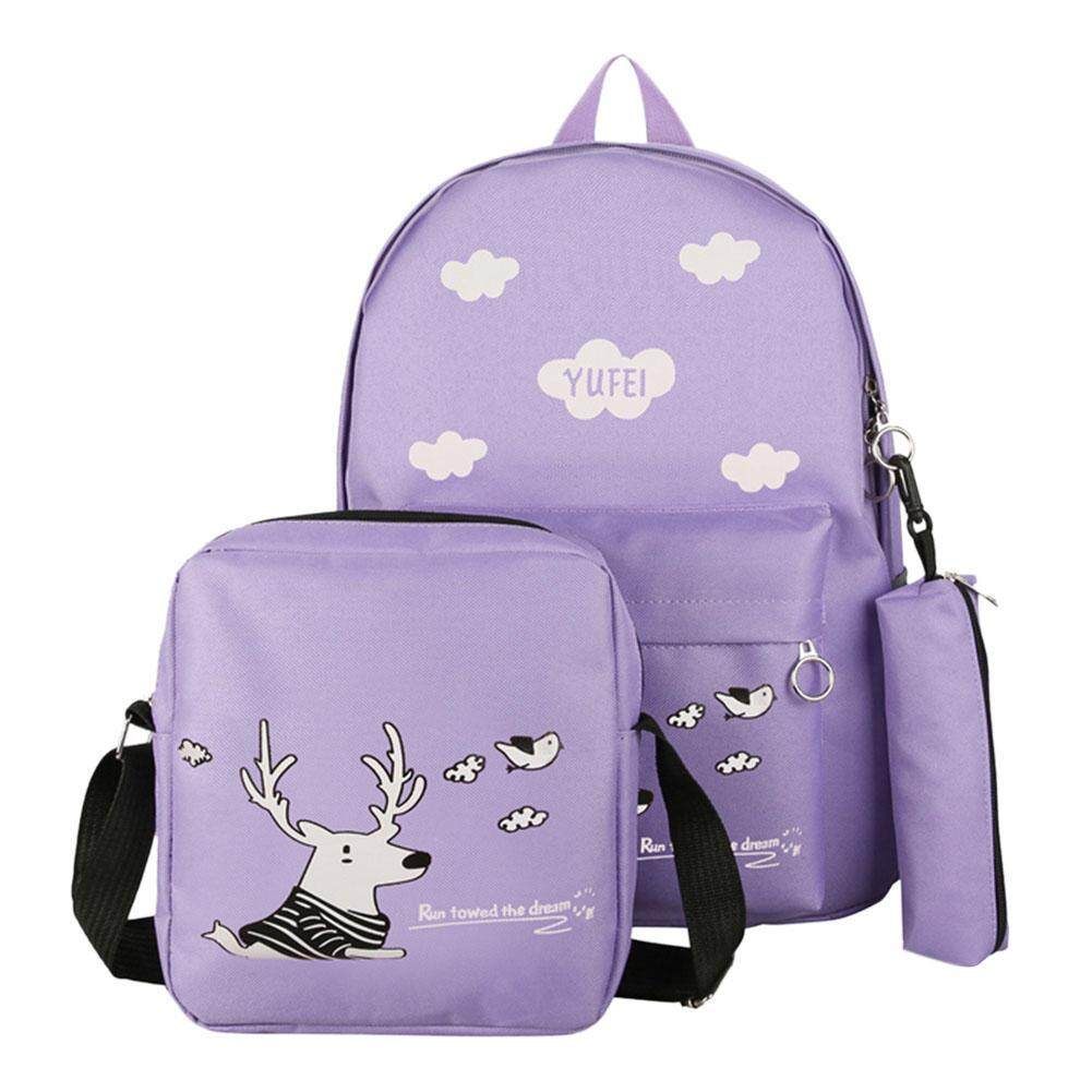 Domybestshop 3pcs/set Cute Women Cartoon Printed Backpacks Girls Big Capacity Canvas Composite Shoulder Schoolbags By Domybestshop.