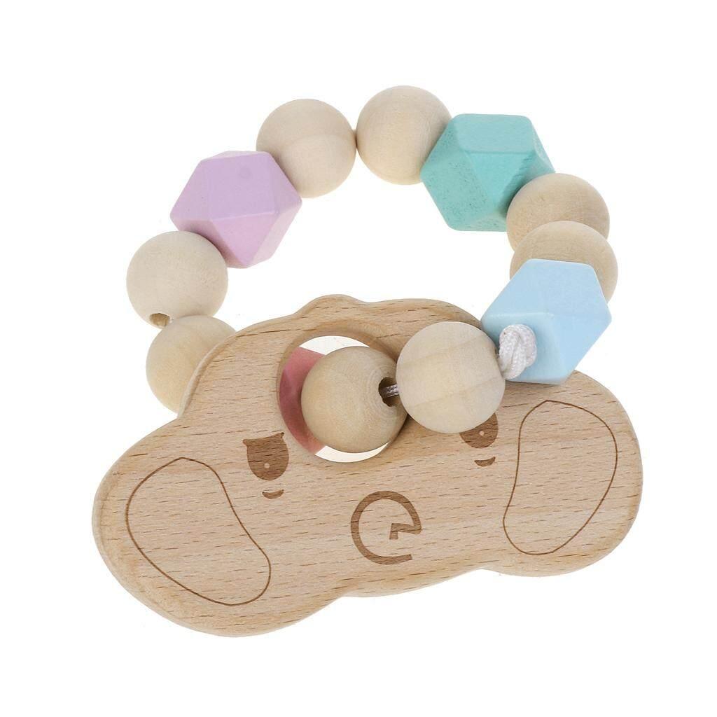 Tumbuh Gigi Alami Bulat Gelang Kayu Bayi Bayi Anak-anak Ibu Alat Gigit Kayu Mainan