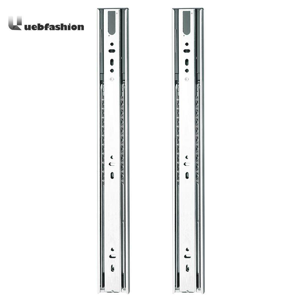 2pcs 3 Stage Smooth Mute Drawer Track Slide Guide Rail Furniture Fittings(Silver)-