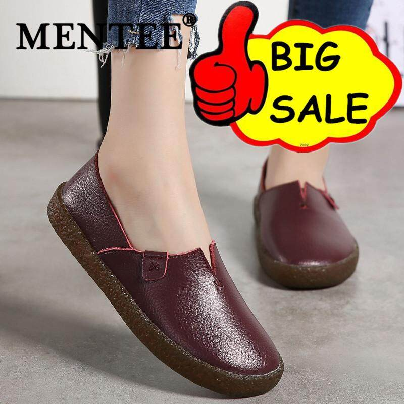 6a7e53d8e2 MENTEE Women Genuine Leather Flats Casual Shoes Round Toe Slip On Flats  Female Loafers Driving Shoes