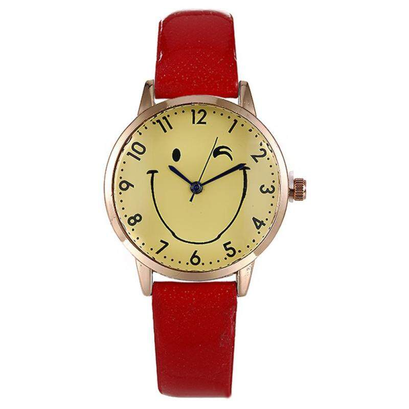 Nơi bán Cartoon Smiling Face Pattern Dial Quartz Wrist Watch with PU Leather Strap Sport Casual Watches - intl