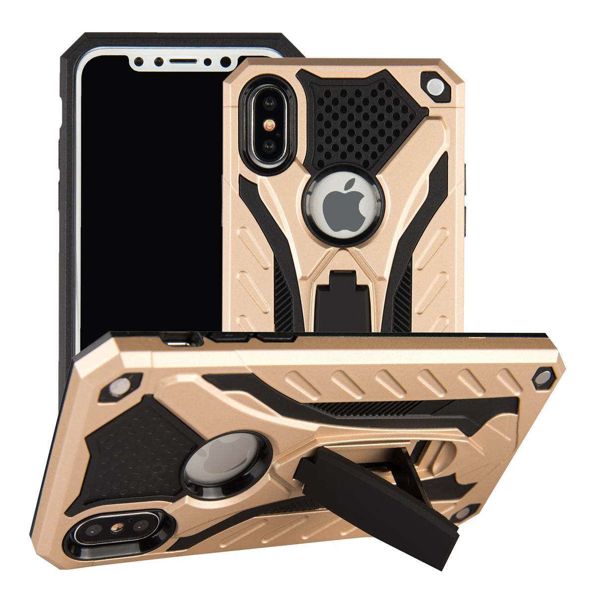 for Apple iPhone X Case [Dots & Stripes] 2in1 Hybrid PC+TPU Armor Back Case Cover, Metal Pad, with Built in Stand Holder, Skidproof, Shock Absorption, Mix & Match