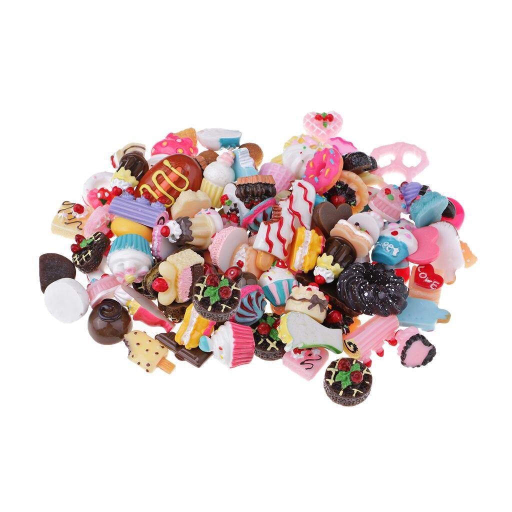 Bolehdeals 100pcs Lots Assorted Sweets Cookies Cakes Diy Flatbacks Cabochons Resin Flat Back Buttons Scrapbooking Slime Charm Crafts By Bolehdeals.