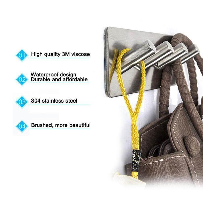 leegoal 1 Pack Of Stainless Steel 3M Self Adhesive Hook Key Rack 4 Oblique Hook