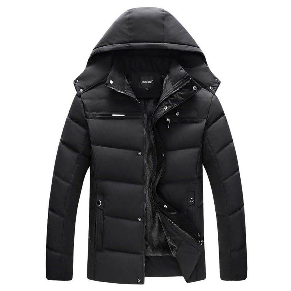 Coromose Men Cotton Padded Jacket Parka Hooded Outwear with Velvet Down Coat for Winter