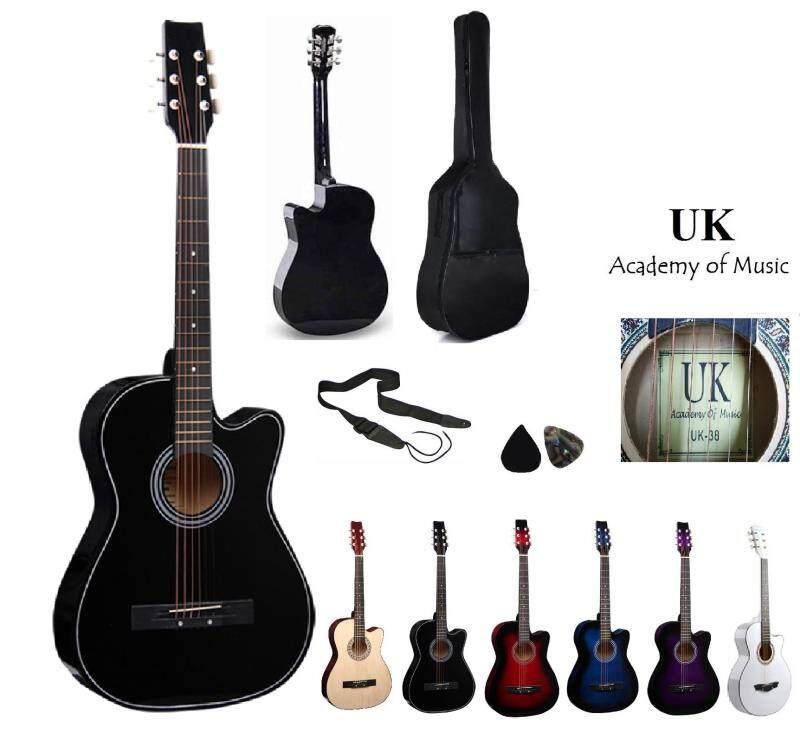 UK Acoustic Guitar 38 Inch ( Black) +Bag+2 Picks+Strap Malaysia