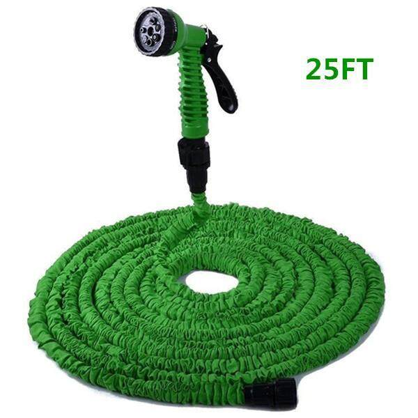 Flexible Expandable Garden Hose Yummy Sam Double Layer Latex Retractable Collapsible Garden Water Hose with 7 Functions Spray Nozzle Expands to 3 Times Length 25ft/50ft/75ft/100ft