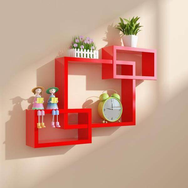 Environmentally Friendly Creative Partition Plaid TV Backdrop Decoration Shelf Wall Storage Shelf Wall Mount Free Punched