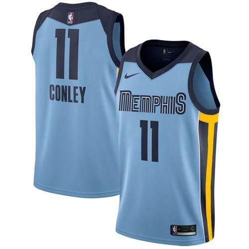 Mens Nba เสื้อบาสเกตบอล Global ขายระบายอากาศที่สะดวกสบายขนาดใหญ่ขนาดใหญ่เมมฟิสกริสลี่ Mike Conley 11 สีฟ้าอ่อน Swingman Statet Edition By Tfcrhmmg.