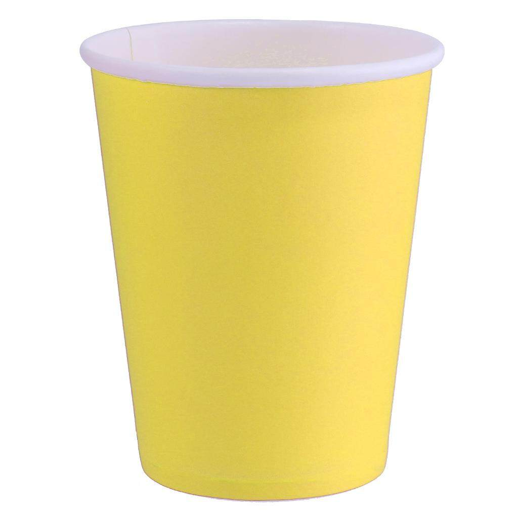 BolehDeals Paper Cups - Plain Solid Colours Birthday Party Tableware Catering Yellow