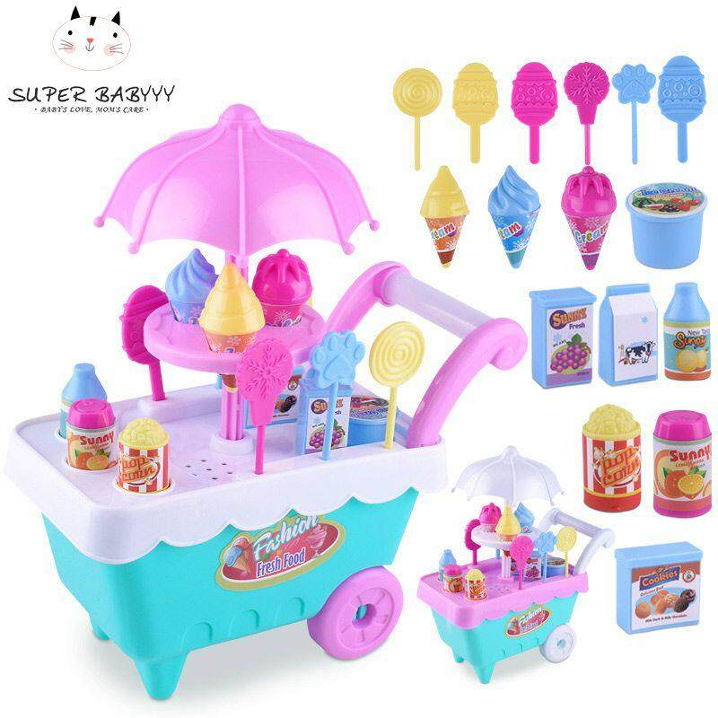 SBY Children Role Play Toys Mini Candy Cart Detachable Ice Cream Shop Cart Toy