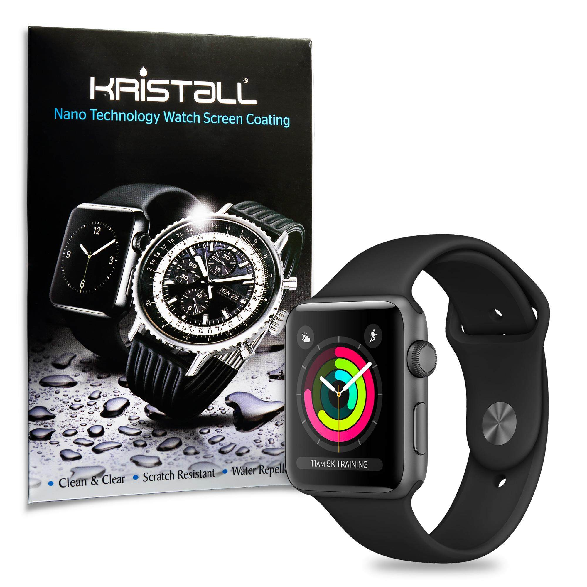 Apple Watch Series 3 Screen Protector - Kristall® 9H Hardness Full Coverage Liquid Nano Coating Screen Protector for Smartwatches (Bubble-FREE Screen Protector, EASY to Apply, Edge-to-Edge Protection)