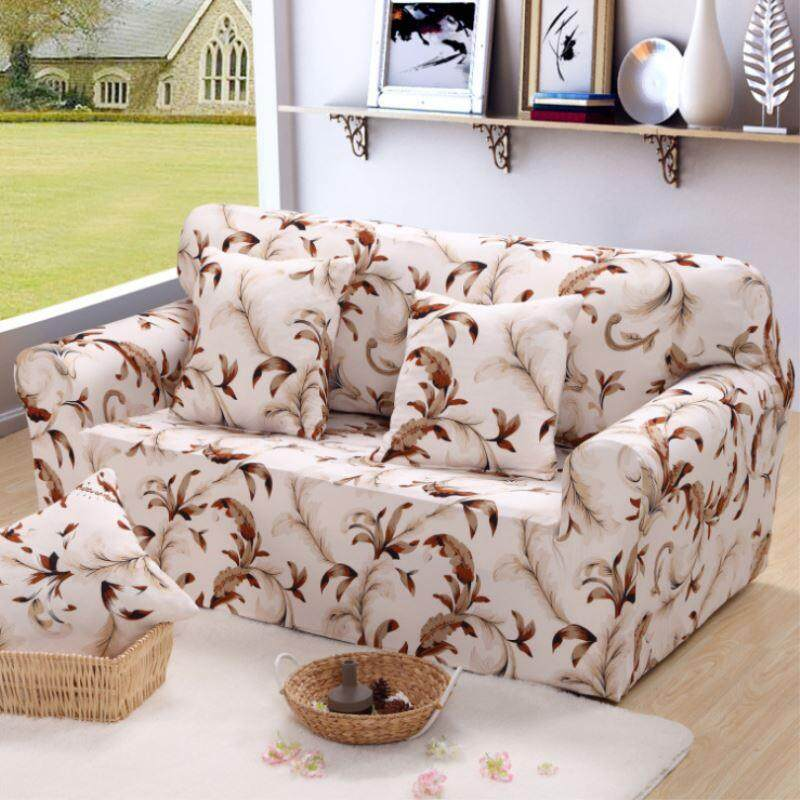 (1 Seater/2 Seater/3 Seater/4 Seater) Printed Stretch Elastic Sofa Cover Slipcovers Couch Furniture Protector - intl