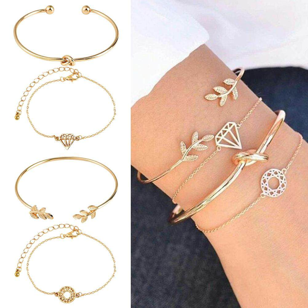 9a36f954dab9de 4pcs/Set Women Simple Design Rose Gold Plated Chain Bracelet Leaf Diamond  Hollow Charm Bracelet