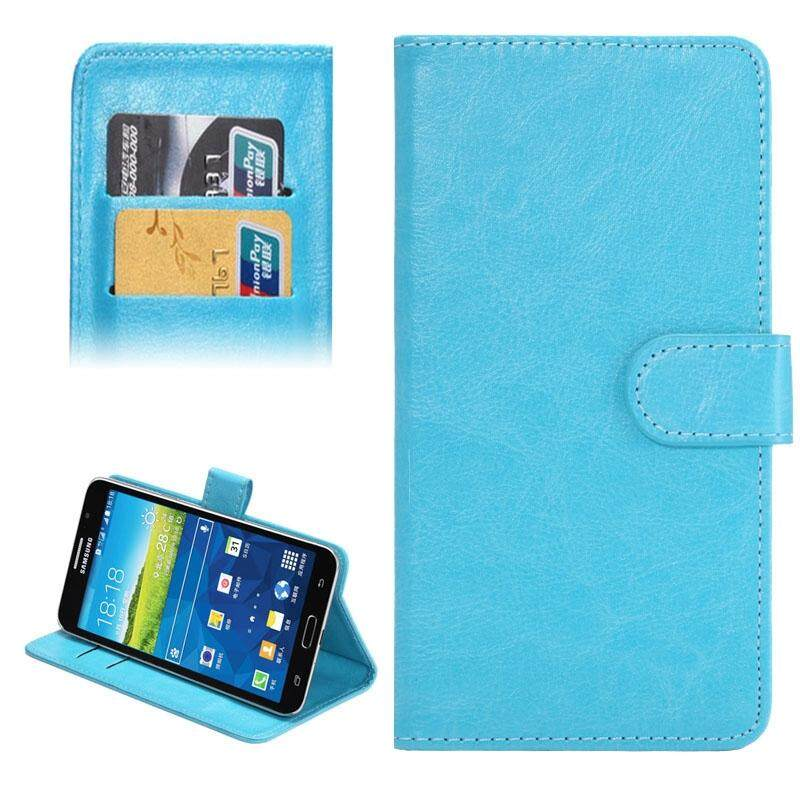 5.5-6.3 Inch Universal Crazy Horse Texture 360 Degree Rotating Carry Case with Holder & Card Slot for Samsung Galaxy Mega 6.3 / i9200(Baby Blue) - intl