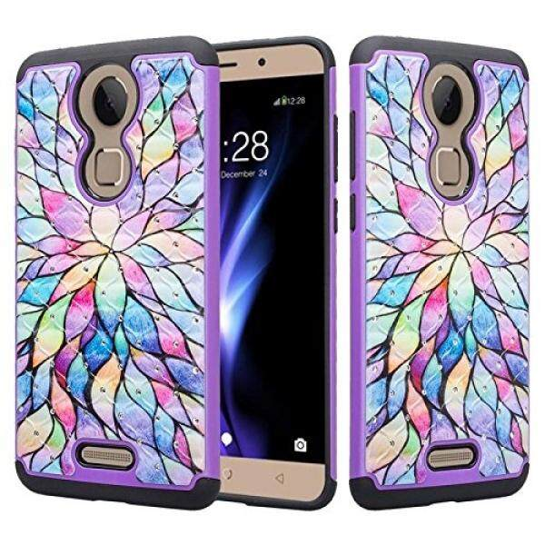 Smartphone Cases Cases Coolpad Revvl Plus Studded Rhinestone Diamond Bling Design Hybrid Protective Case Stonetron (Rainbow Mini Pedal) - intl