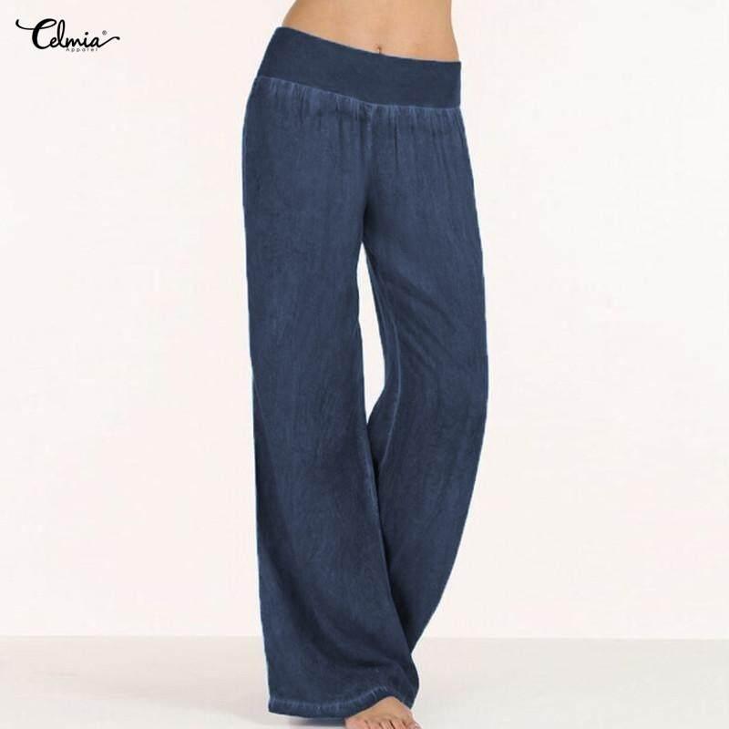 81476c7617 Celmia Womens Ladies Fashion Elastic Waist Denim Solid Casual Loose Wide  Leg Pants Flared Trousers