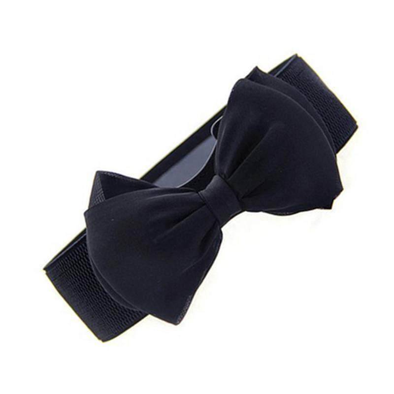 ... Womens Sweet Bowknot Elastic Bow Wide Stretch Buckle Waistband Waist Belt black - intl - 3
