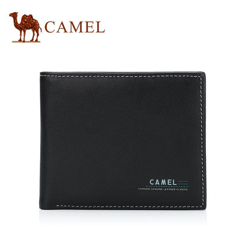 Camel man genuine leather purse business casual short cowhide bifold wallet
