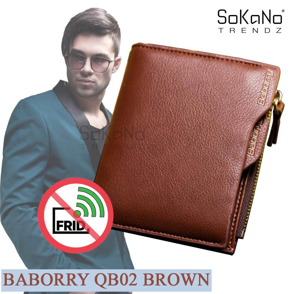 (RAYA 2019) Baborry QB02 Men Short Bifold Wallet with the Zipper Men Wallet Top RFID Antimagnetic Anti RFID Anti Theft Beg Lelaki (with Detachable Name Card Holder)
