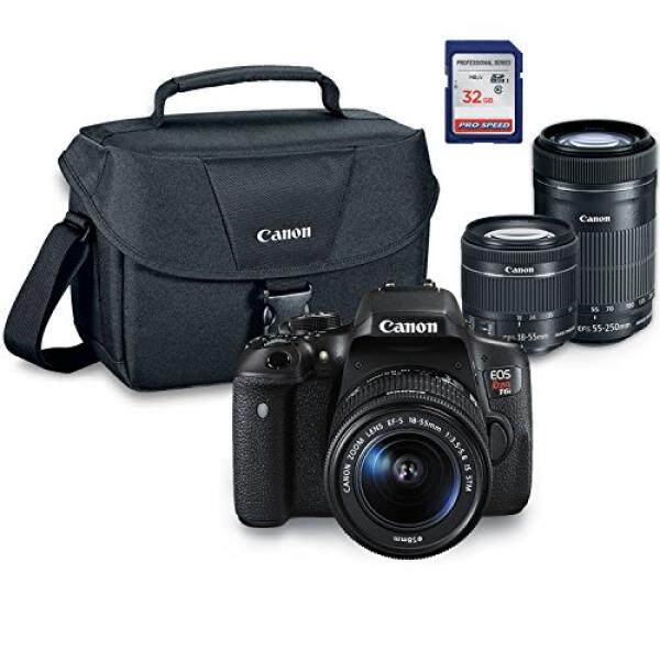 Canon EOS Rebel T6i Digital SLR Kamera Kit dengan EF-S 18-55 Mm STM + EF-S 55 + 250 Mm Adalah STM + ES100 Case + 32 GB Kelas 10 Kartu SD-Versi Internasional