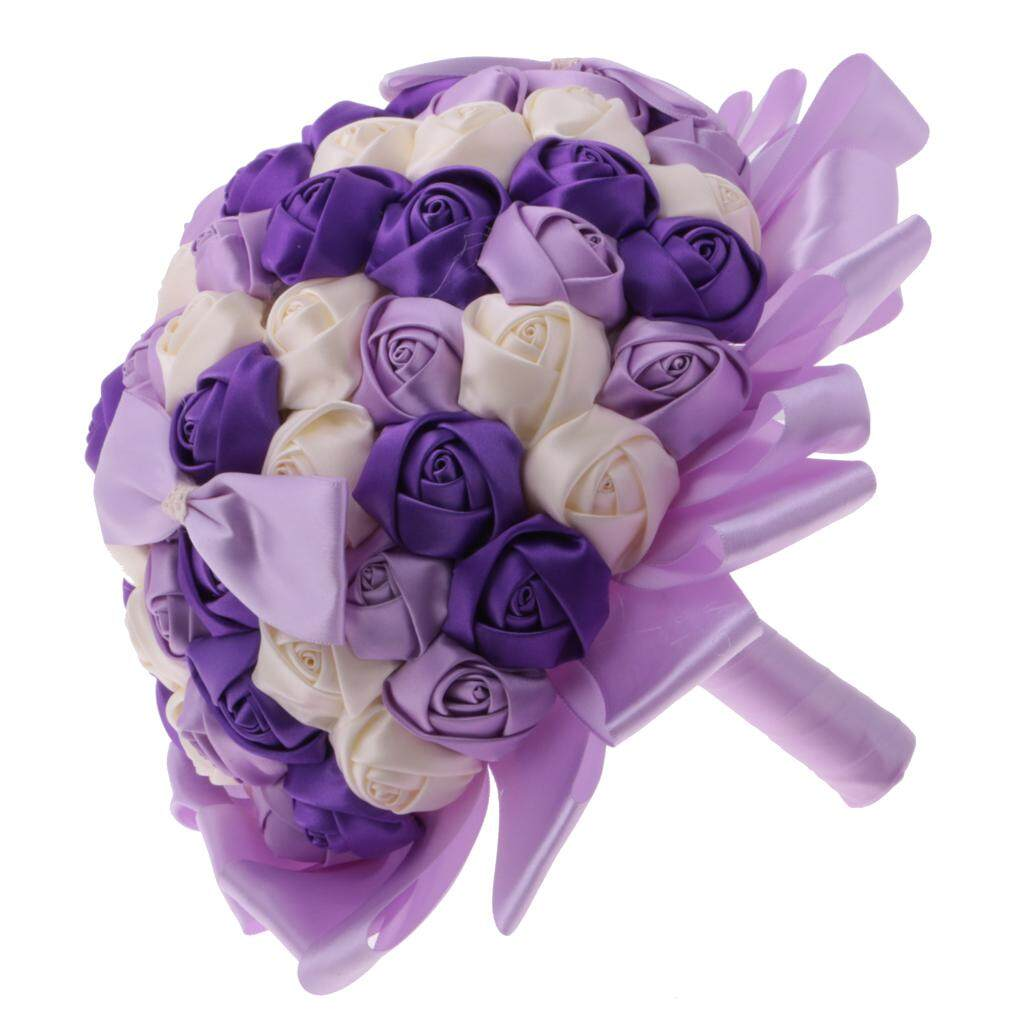 GuangquanStrade Rose Flower Bridal Bouquet Wedding Bride Holding Decor Purple and White