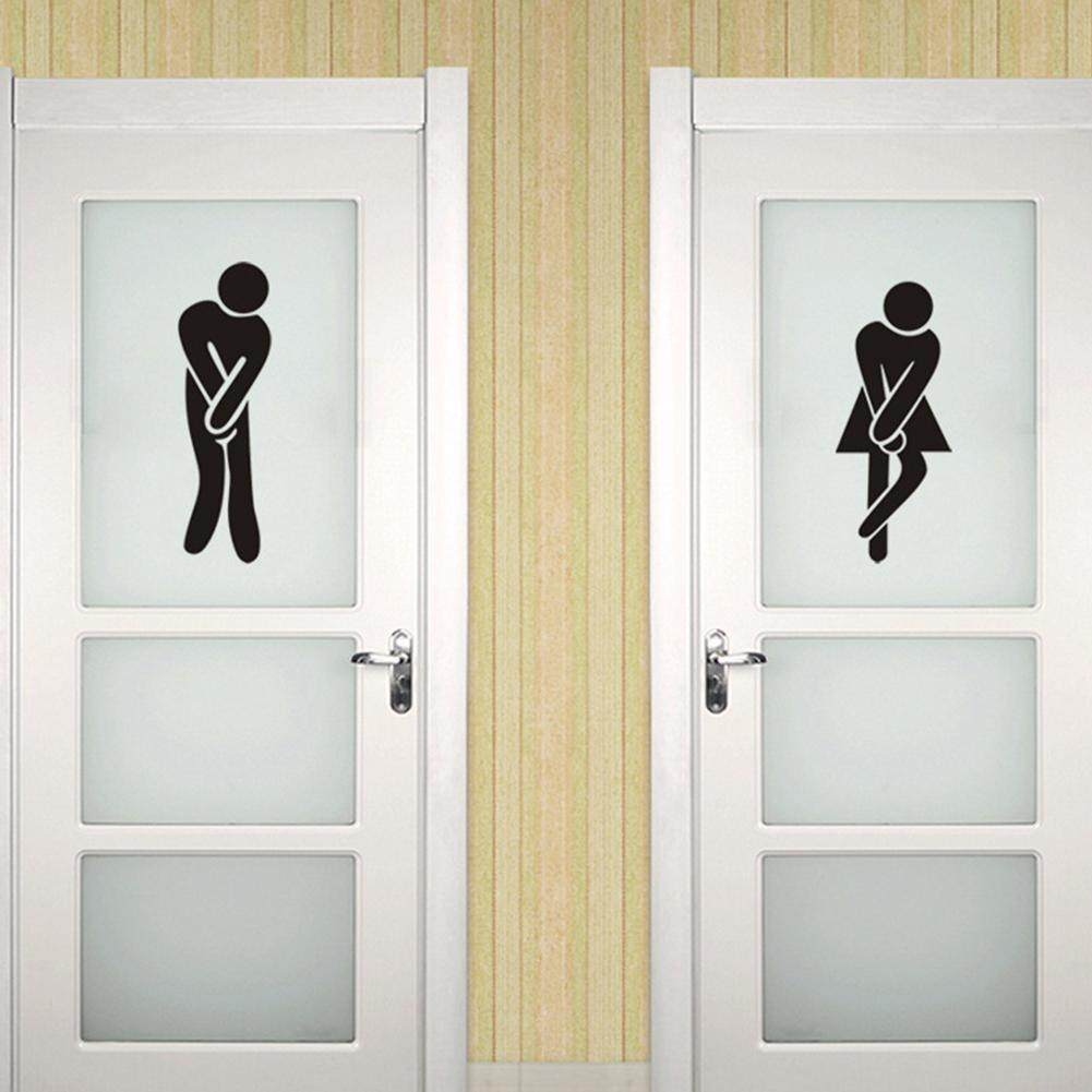 Features Waterproof Toilet Sign Wall Sticker Art Mural For Toilet ...