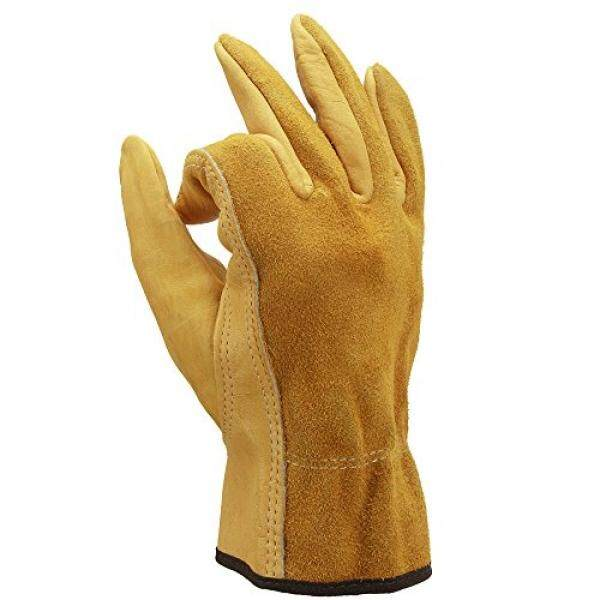 OZERO Gardening Gloves, Flexible and Extra Grip Leather for Utility Work, Construction, Wood Cutting, 1 Pair Pack - intl