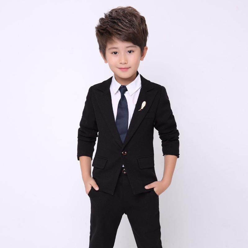 2pcs Set Boys Suits For Weddings Kids Prom Suits Black Wedding Suits Kids  Blazers Boys a320c129138e