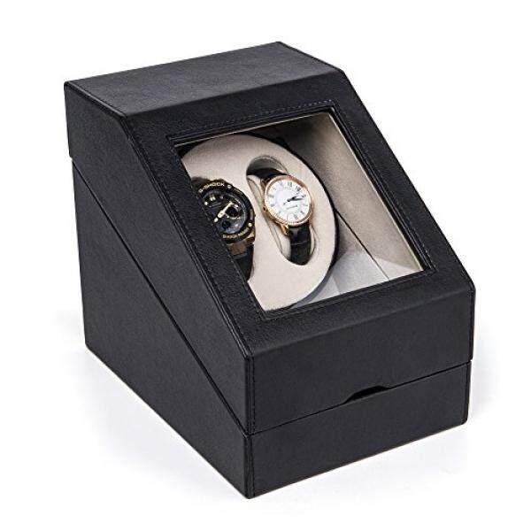 Hezala Jam Tangan Ganda Penggulung Kotak untuk Rolex Jam Tangan Otomatis dengan 3 Penyimpanan dan Tenang Mabuchi Motor Hitam-Intl