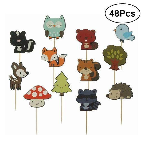 48pcs Cute Forest Animal Cake Cupcake Toppers Decoration Cake Picks For Kids Baby Shower Birthday Party By Pickegg.