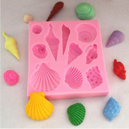 Fang Fang Silicone Marine Sea Shell Mold Fondant Cake Decorating Mould Sugarcraft Tool (Pink)