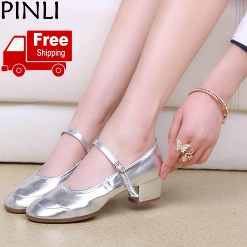 PINLI  Pengiriman Gratis  Baru Sepatu Dansa Wanita Modern Sepatu Dansa  Sepatu Dansa Wanita Bertumit 30b0f37813