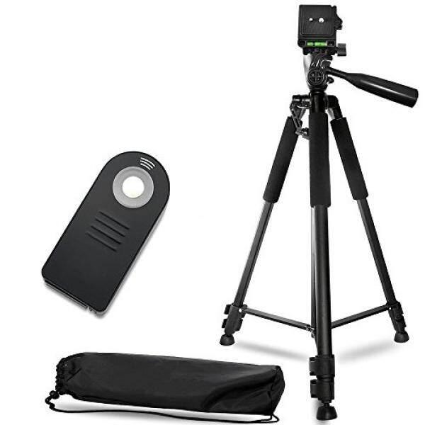 60 Inch Ringan Kamera Aluminium Bundel Tripod (5 Piece Set)-Termasuk Pelepasan Rana Jauh untuk Nikon, membawa Kasus dan Lensa Serat Mikro Kain Lap-Intl