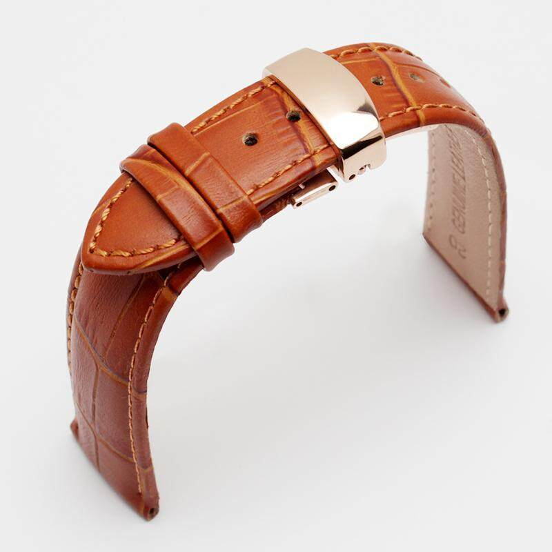 Butterfly Deployment Clasps Watch Band 20mm Genuine Leather Watch men Straps Bracelets Promotion WATCHBAND Malaysia