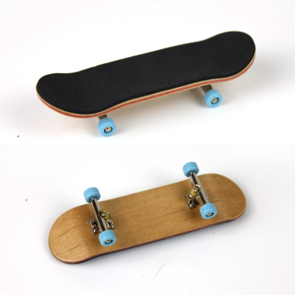 Complete Wooden Fingerboard Finger Skate Board Grit Box Foam Tape Maple Wood Light Blue By A Mango.