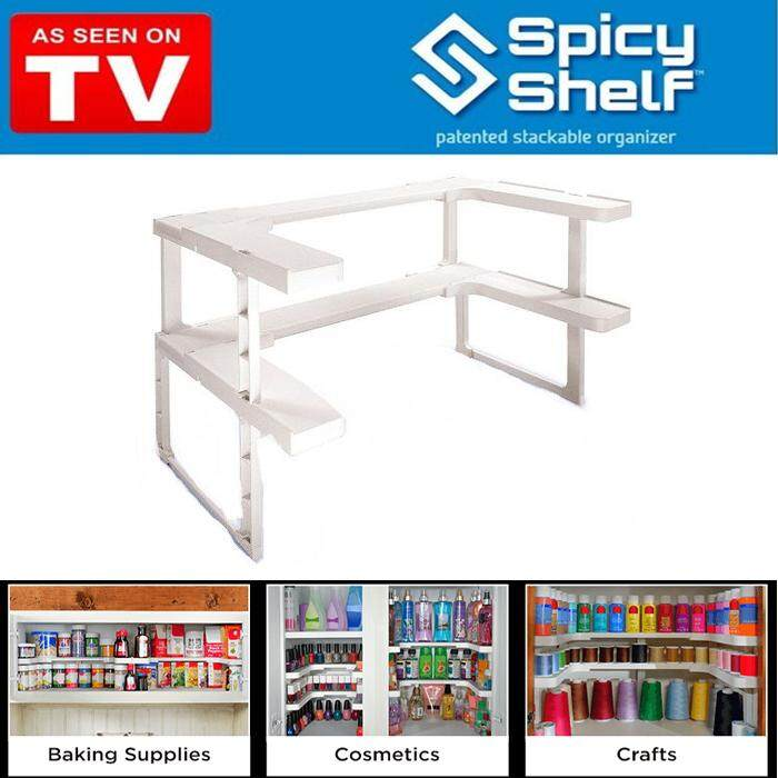 Spicy Shelf Organizer 2 Layer Stackable Adjustable for Kitchen Cabinets Bathroom Store Room Storage
