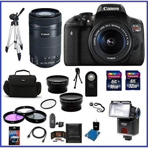 Canon EOS Rebel T6i DSLR Kamera dengan 18-55 Mm Lensa (Amerika Serikat Garansi) & Canon EF-S 55-250 Mm F/4-5.6 IS Lensa STM + 58 Mm Kualitas Tinggi 2.2X Tele &. 43X Lensa Sudut Lebar + Auto Power Flash + 48 GB Aksesori Bundle Kit
