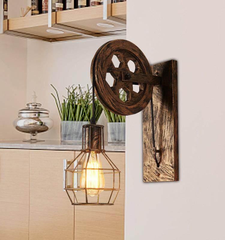 QUKAU antique wall lamp dining room living room gear lighting bedroom creative sconces iron art lifting wall lamp