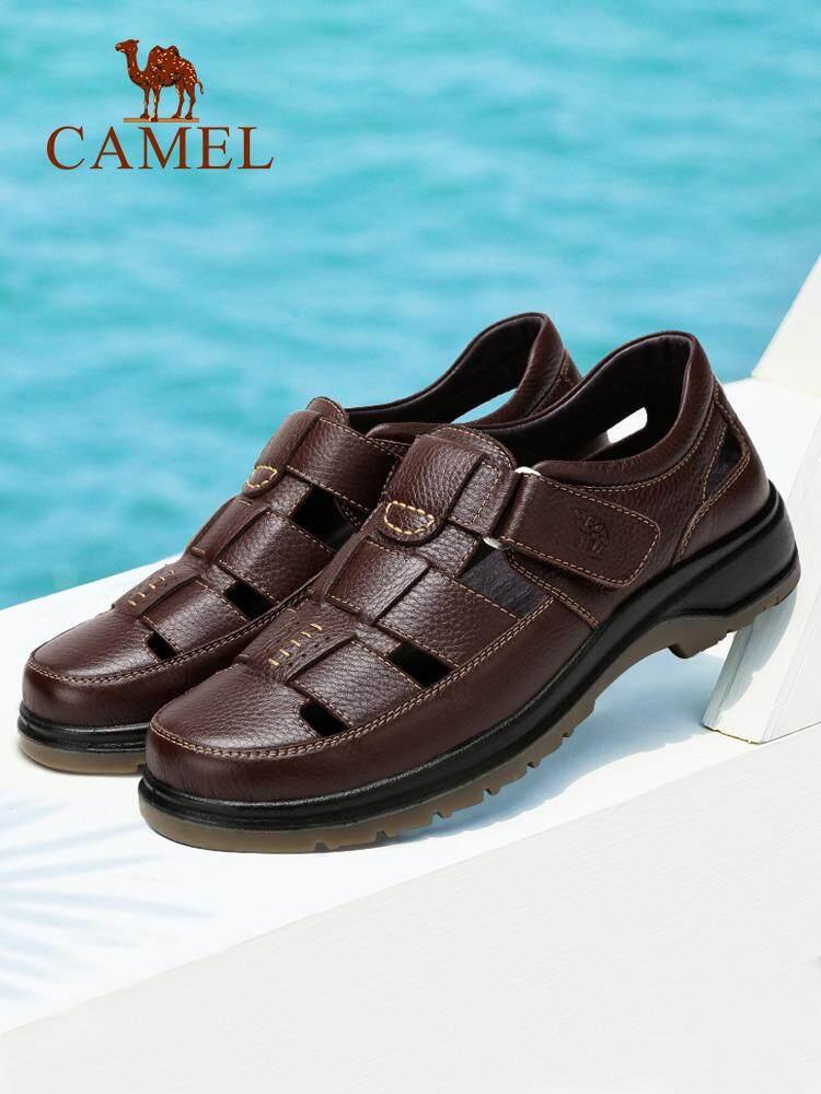 Sandal Unta Sandal Pria 2018 Musim Panas Baru Sepatu Pantai Bernapas Kulit  Setengah Baya Ayah Sandal f95c0a51b5