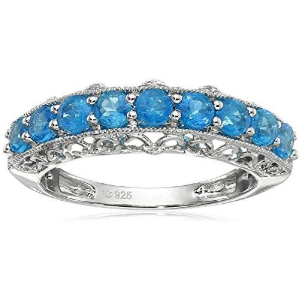 [From.USA]Sterling Silver Neon Apatite Band Stackable Ring, Size 7 B0132K1FQ2 - intl