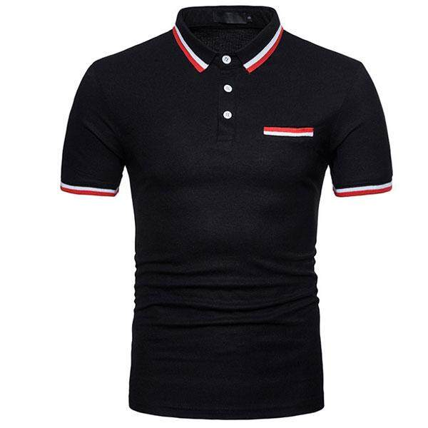 Summer New Color Short Sleeved Lapel Collar Thread Men Polo Shirt - intl