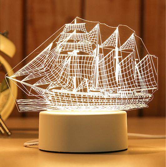 3D Optical Illusion LED Table Night Light(Sailboat)