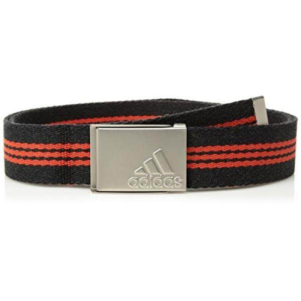 Adidas Golf Anyaman Garis Sabuk Hitam Heather/Core Red, Satu Ukuran