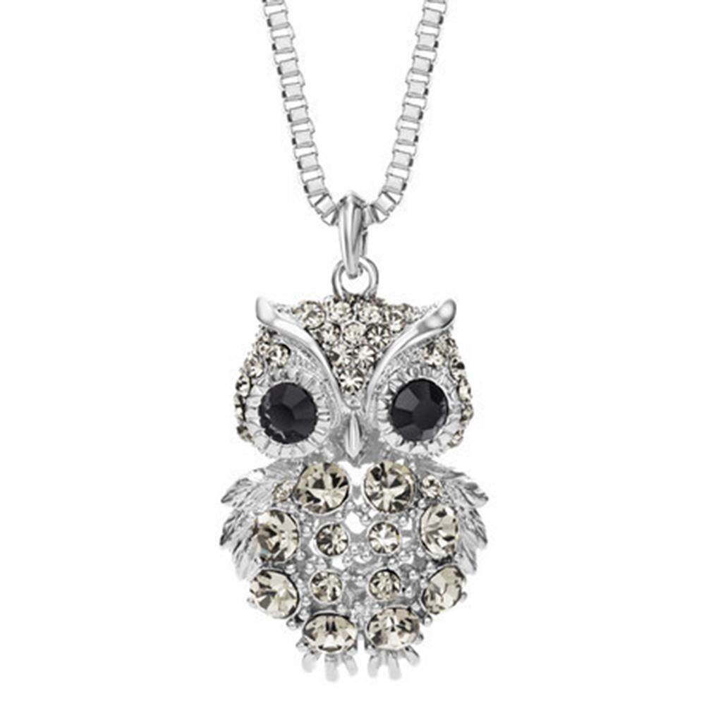 Woman Girls Creative Vintage Owl Pendant Necklace Artificial Diamond Elegant All-match Sweater Chain Valentine's Day Gift - intl