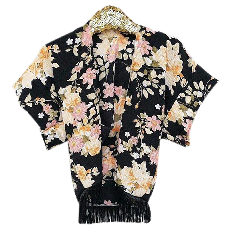 Baby Girls' Black Floral Printing Tassels Inverness Long Sleeve Loose Shawl Cardigan Coat - intl
