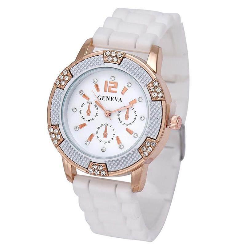 Satu Pasang Hitam + Putih Mawar Emas Kronograf Palsu Jam Tangan Silikon dengan Berlian Imitasi-Internasional