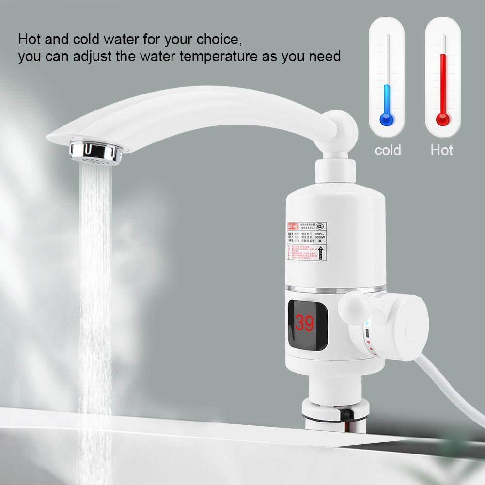 Listrik Cepat Kran Pemanas Tampilan Digital Alat Pemanas Air Tekan untuk Dapur Kamar Mandi 220 V